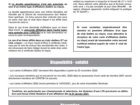 Info Covid-19 renouvellement affiliation