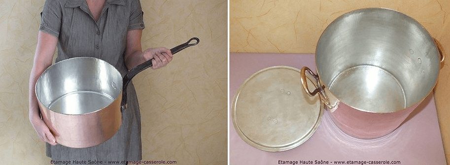 Étamage de marmite en cuivre