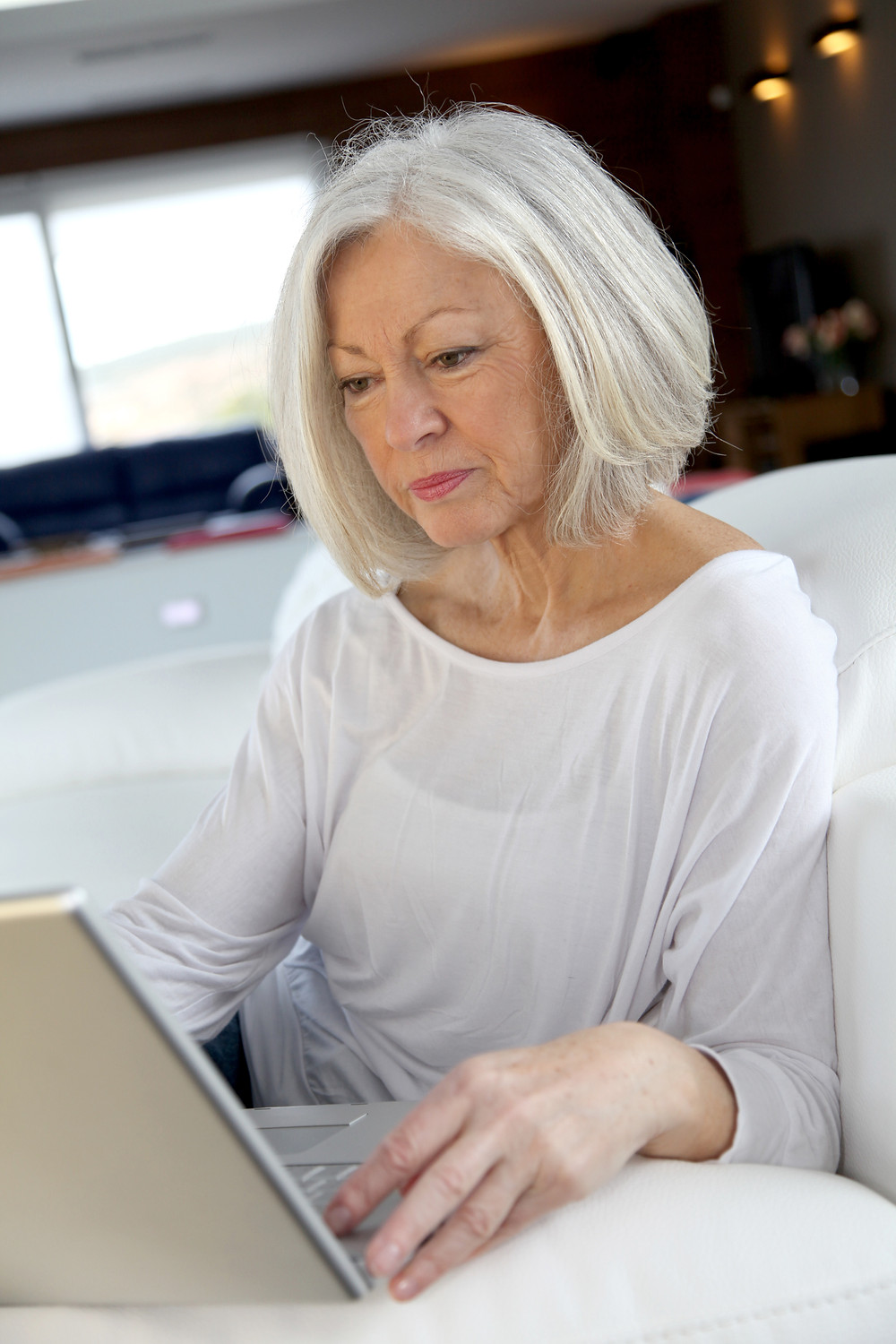 senior lady on a computer