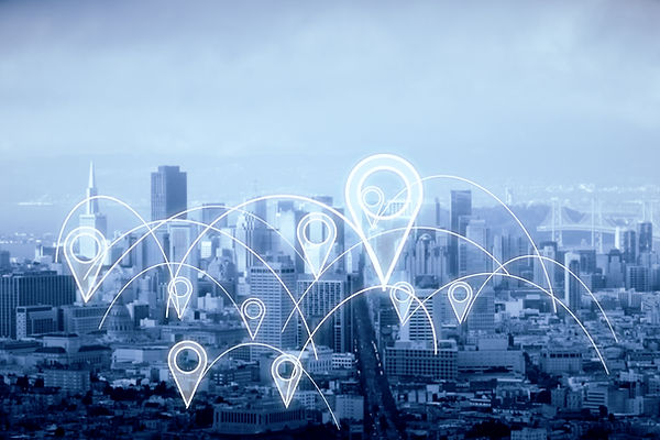 City with abstract connected location pi