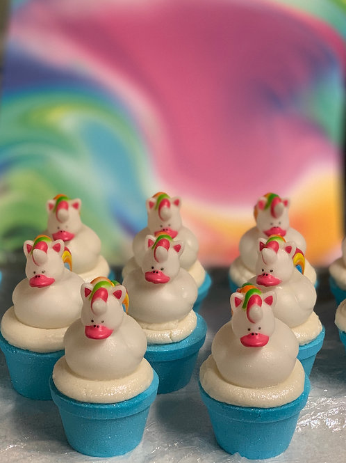 Unicorn Rubber Duck Bath Bomb Cupcake