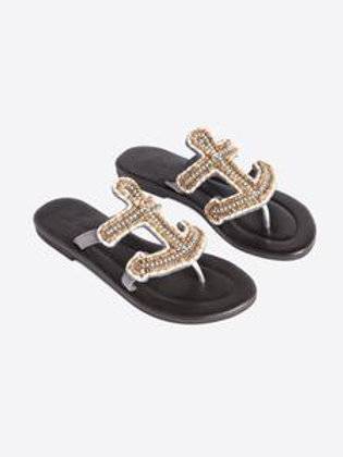 Anchor Beaded Flat Sandals