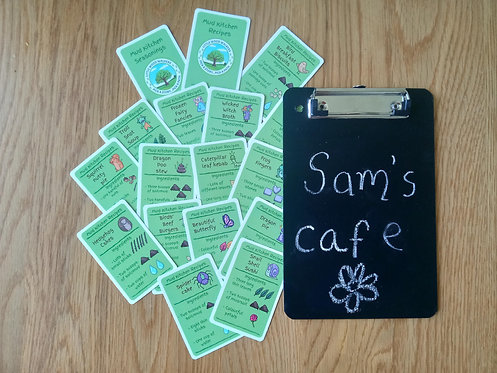 Mud Kitchen Recipes with Chalkboard - 15 Card Set