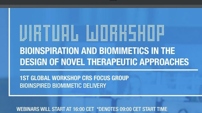 """Lihi will give a talk at the CRS Italia special webinar series - VIRTUAL Workshop on """"Bioinspiration and Biomimetics in the Design of Novel Therapeutic Approaches"""" on MARCH 3"""