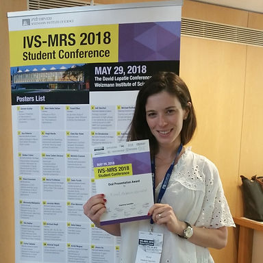 Congratulation to Dr. Michal Halperin-Sternfeld for winning Best Oral Presentation Award in the IVS-MRS 2018 Student Conference