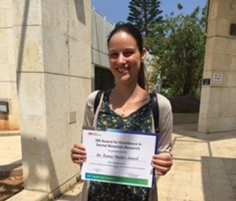 Congratulation to Dr. Tamar Shalev Antsel for receiving the 3M Award for Excellence in Dental Materials Research