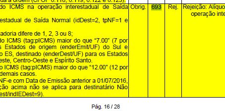 Rejeição: 693 -Alíquota de ICMS superior a definida para a operação interestadual - parte 2