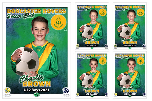 Doncaster Rovers Soccer Club Player Portrait – 5 in 1 Pack