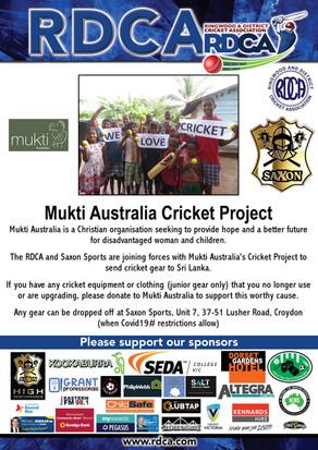 RDCA & SAXON SPORTS supporting the Mukti Australia Cricket Project
