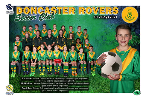 Doncaster Rovers Soccer Club Team Photo With Individual Player Portrait