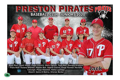 Preston Pirates Baseball Team Photo With Individual Player Portrait