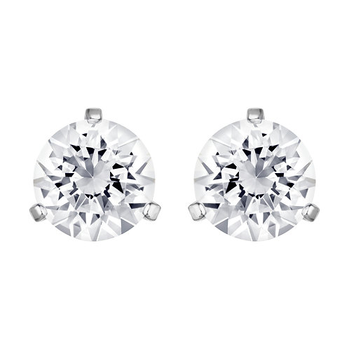 Solitaire Pierced EarringsWhite, Rhodium plated
