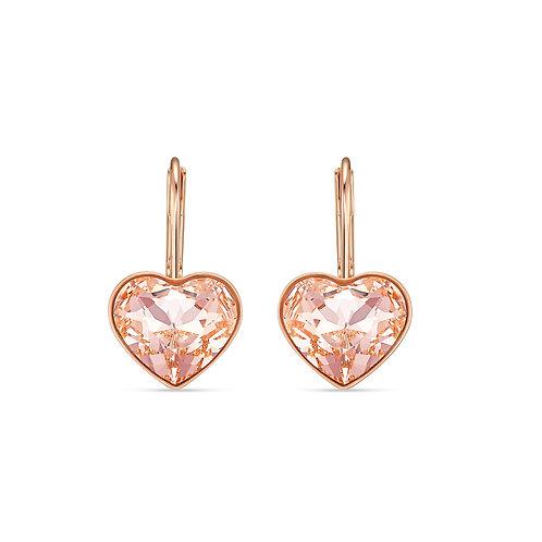 Bella Heart Pierced Earrings, Pink, Rose-gold tone plated