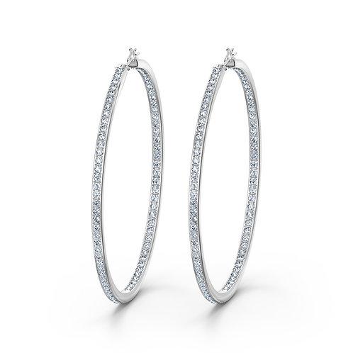 Rare Hoop Pierced EarringsWhite, Rhodium plated