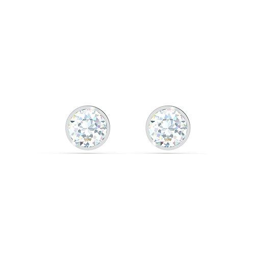 Tennis Stud Pierced EarringsWhite, Rhodium plated