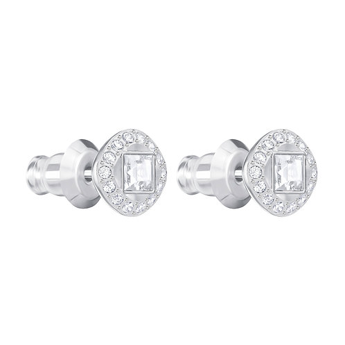Angelic Square Pierced EarringsWhite, Rhodium plated