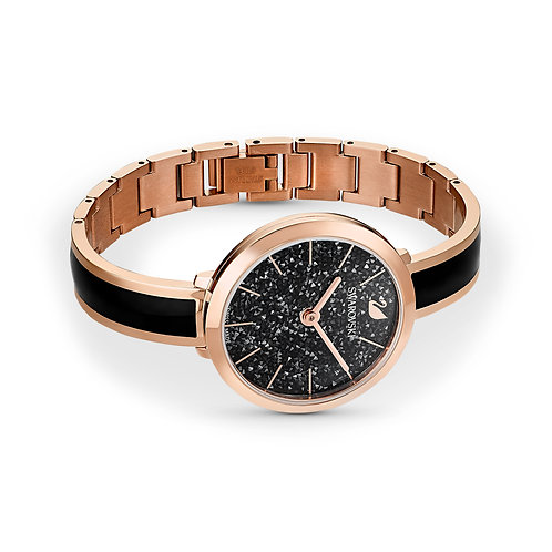 Crystalline Delight Watch, Metal Bracelet, Black, Rose-gold tone PVD
