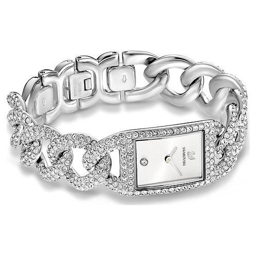 Cocktail WatchFull Pav�, Metal bracelet, Silver tone, Stainless Steel