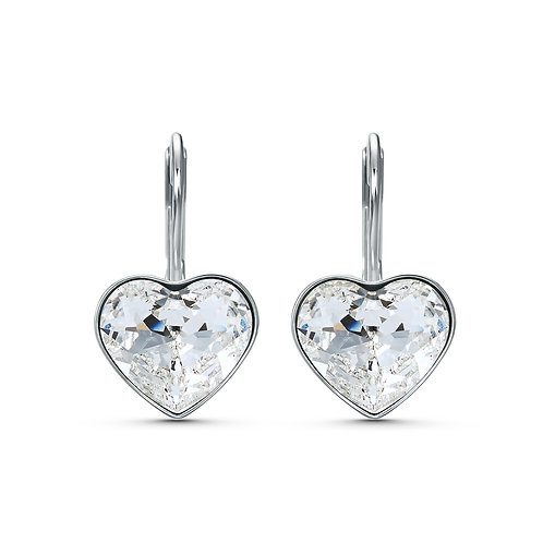 Bella Heart Pierced EarringsWhite, Rhodium plated