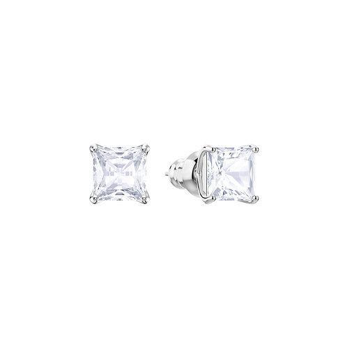 Attract Stud Pierced EarringsWhite, Rhodium plated