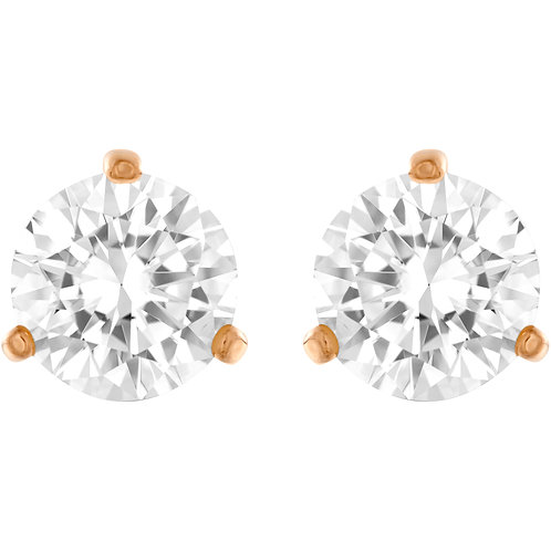 Solitaire Pierced EarringsWhite, Rose-gold tone plated