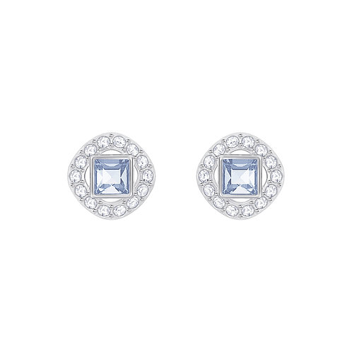 Angelic Square Pierced EarringsBlue, Rhodium plated