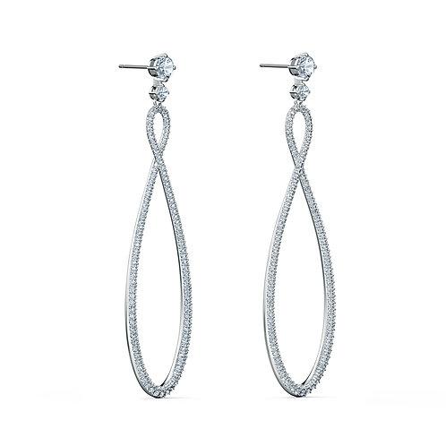Swarovski Infinity Hoop Pierced EarringsWhite, Rhodium plated