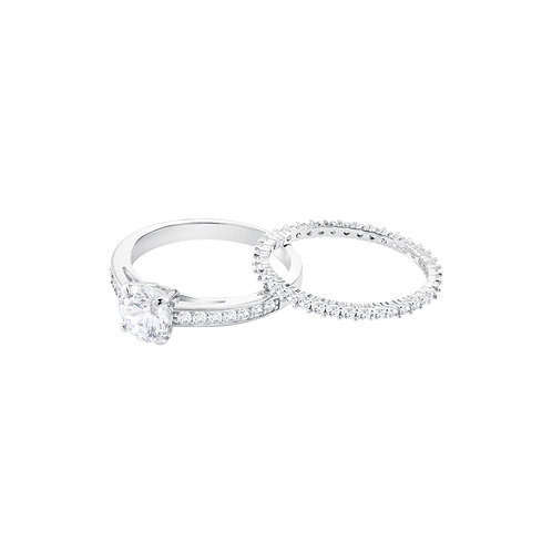 Attract Ring Set, White, Rhodium plated