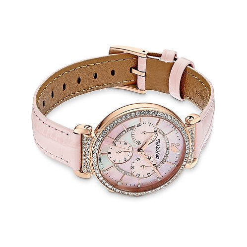 Passage Chrono Watch, Leather strap, Pink, Rose-gold tone PVD