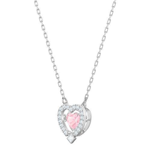 Swarovski Sparkling Dance Heart NecklacePink, Rhodium plated