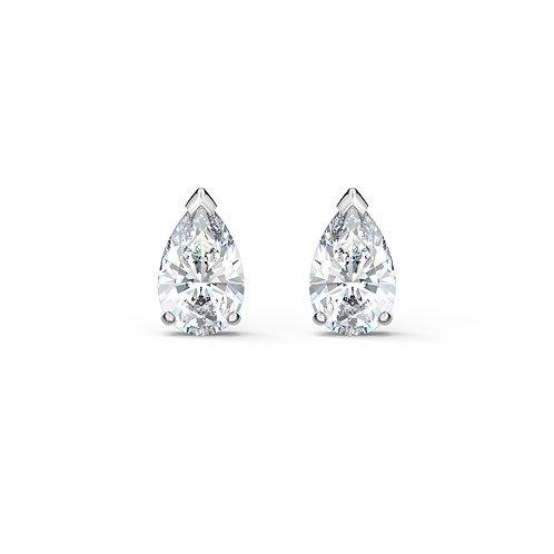 Attract Pear Stud Pierced EarringsWhite, Rhodium plated