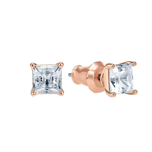 Attract Pierced EarringsWhite, Rose-gold tone plated