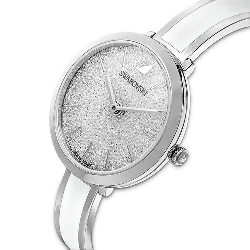Crystalline Delight Watch, Metal Bracelet, White, Stainless Steel