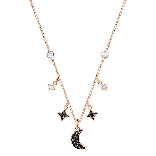 Swarovski Symbolic Moon NecklaceBlack, Rose-gold tone plated