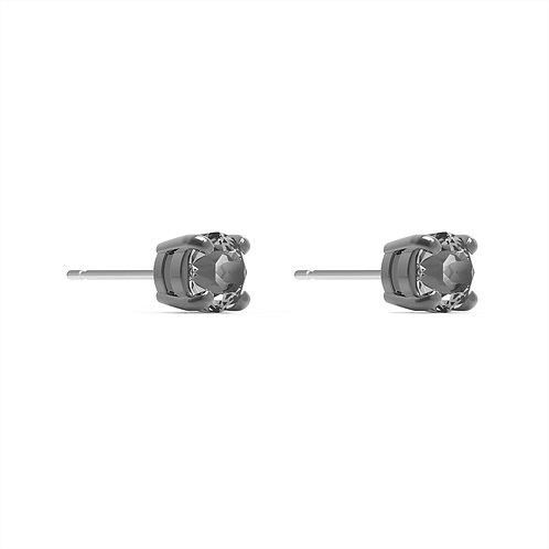 Men's Sleek Stud Pierced EarringsGray, Ruthenium plated