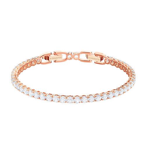 Tennis Deluxe BraceletWhite, Rose-gold tone plated