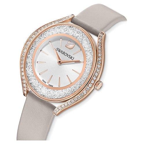 Crystalline Aura WatchLeather strap, Gray, Rose-gold tone PVD