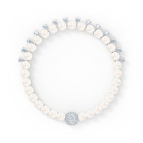 Treasure Pearl Bracelet, White, Rhodium plated