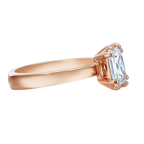 Attract Motif Ring, White, Rose-gold tone plated