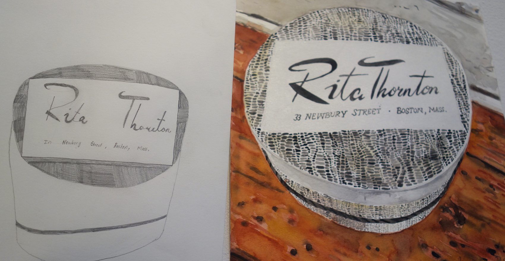 5x Rita Thornton hat box with kids drawi