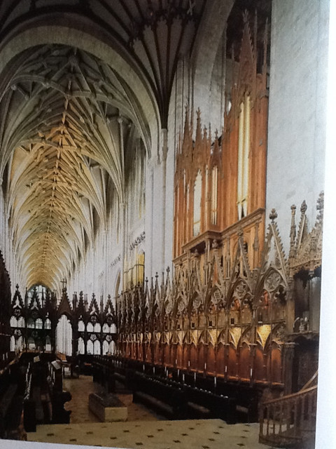 Choir stalls, Winchester Cathedral - we'll be singing the choral services from here