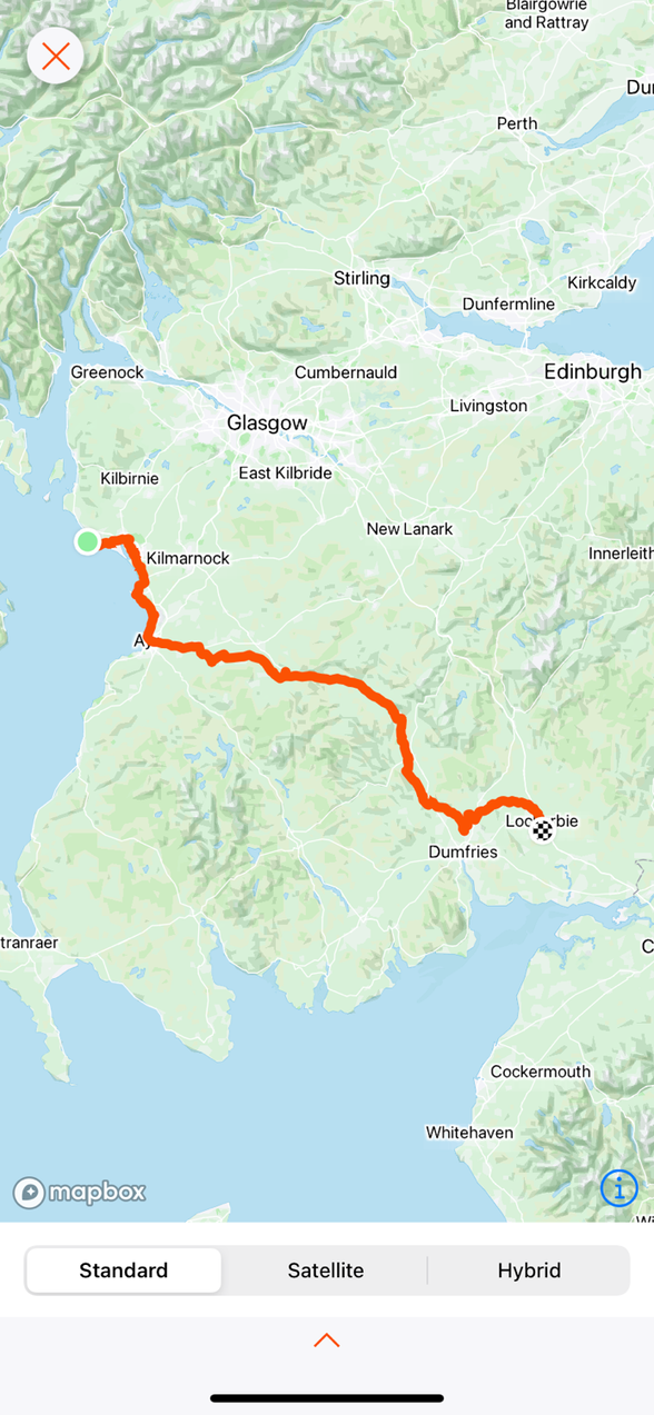 Brodick (Isle of Arran) to Lockerbie . 165km … 332km from the start and 437km in total.