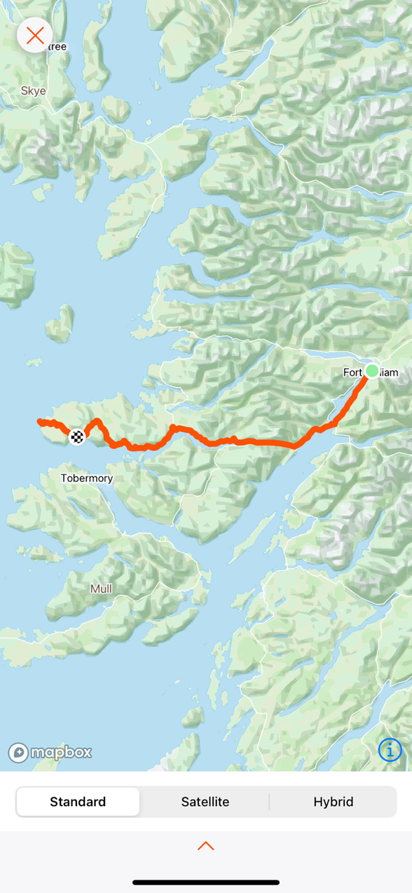 To the start ….Fort William to Adnarmuchan Lighthouse and back to Kilchoan … 105 km …