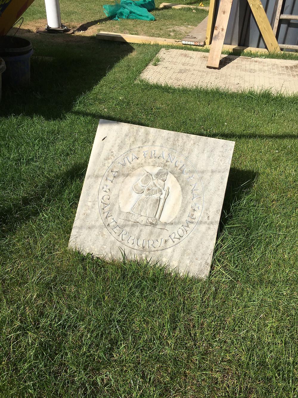 Marker stone Zero fo the Via Francigena outside the main entrance to Canterbury Catherdral