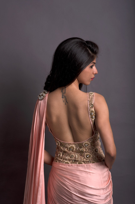 Blush Pink Pleated Saree with Embroidered Blouse
