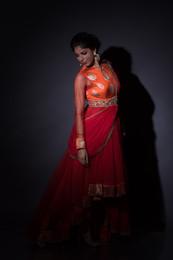Orange Red Brocade Asymmetric Dress