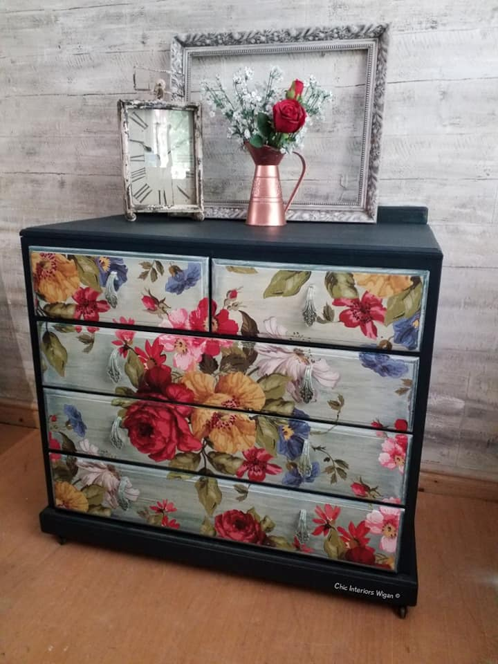 drawers with iron orchid design transfer on front