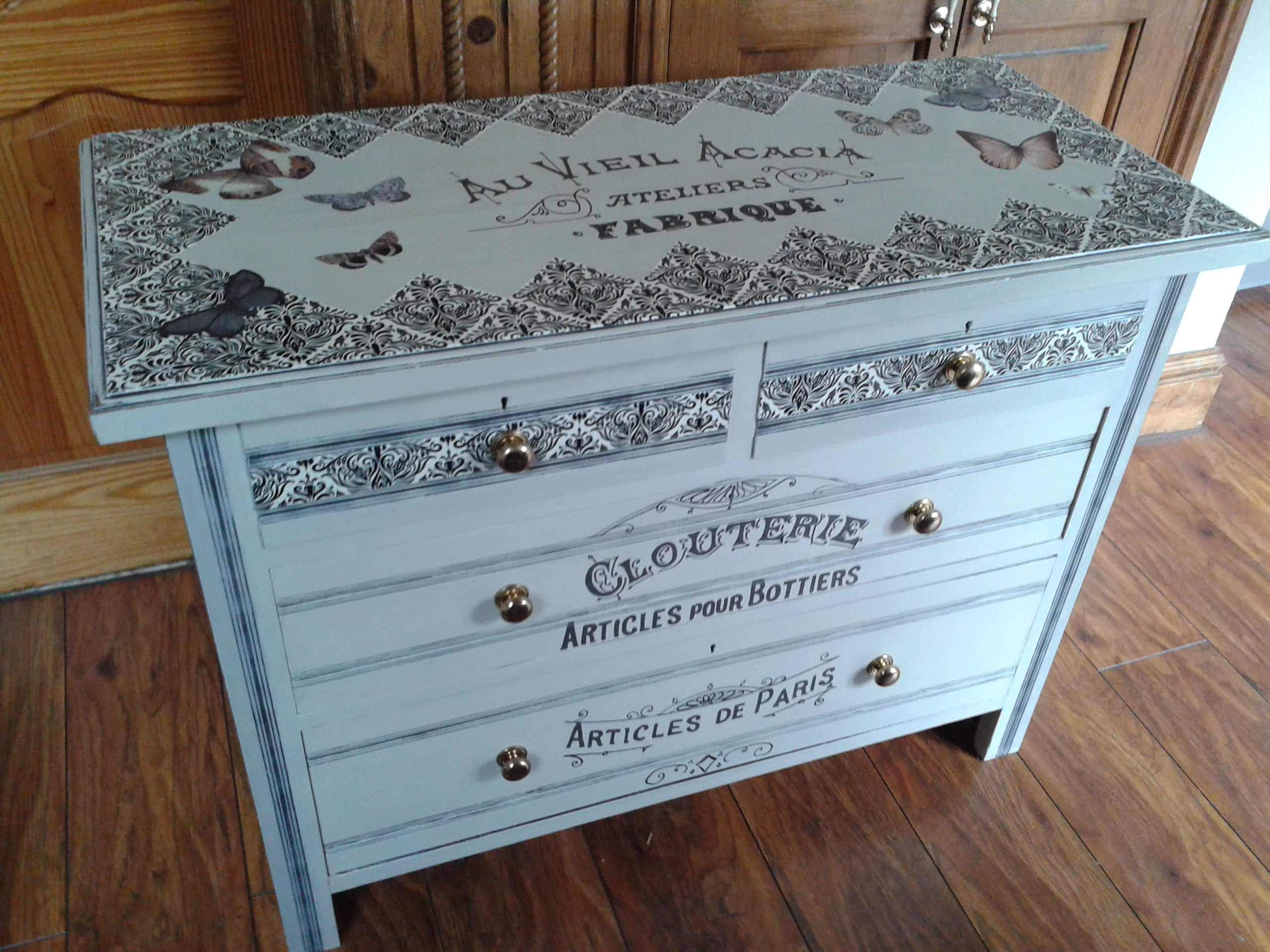 decoupage drawers.