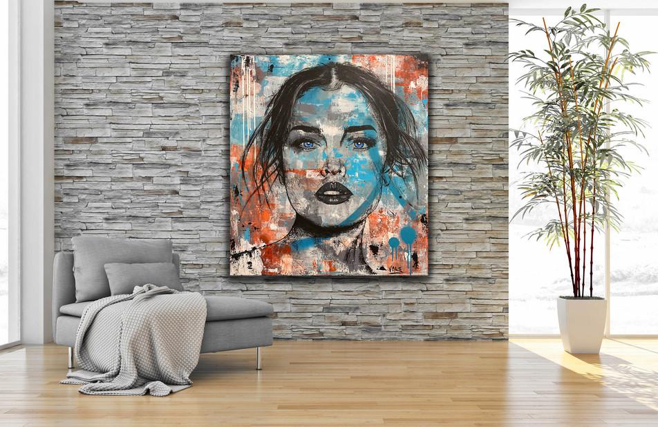 BLUE EYES LIKE THE SKY, Mixed media on canvas, 90x80cm, 2019