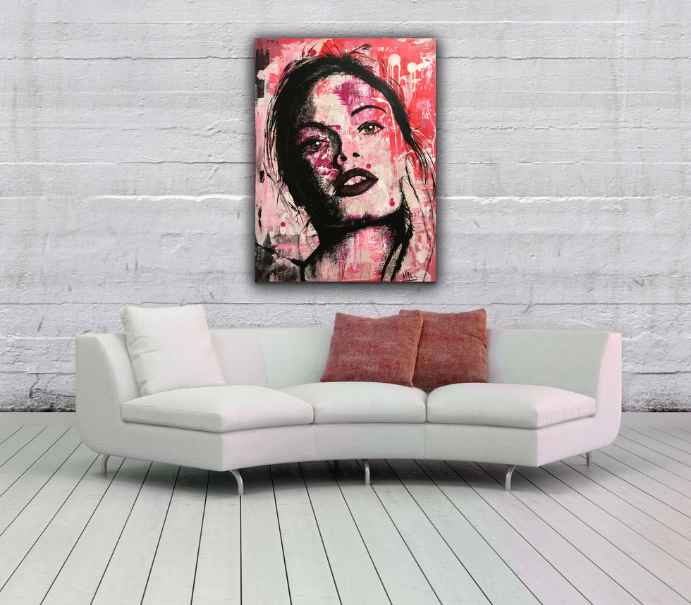 THE GIRL NEXT DOOR, Mixed media on canvas, 80x60cm, 2019